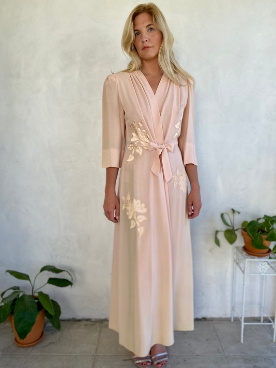 Vintage 1930s Couture Saybury SILK Wrap Dress Gown