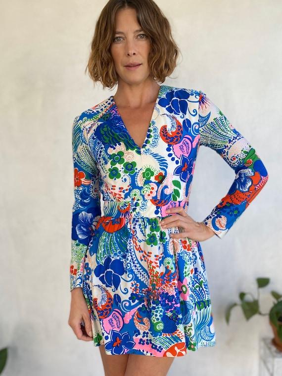 60s Vintage Carlye Bright Floral Mod Mini Dress -