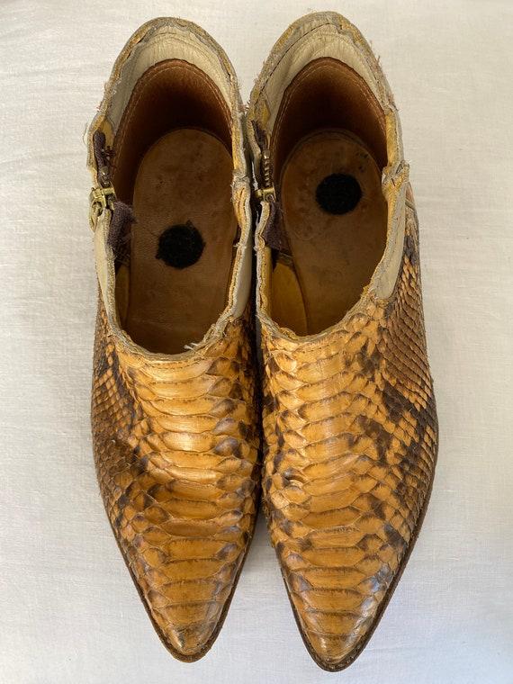 Gorgeous Vintage Genuine Python Ankle Cowboy Boot… - image 3