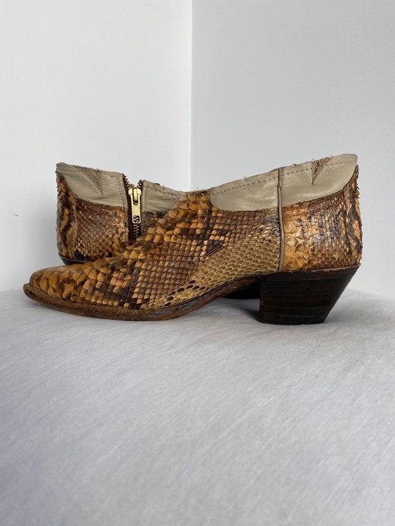 Gorgeous Vintage Genuine Python Ankle Cowboy Boot… - image 5