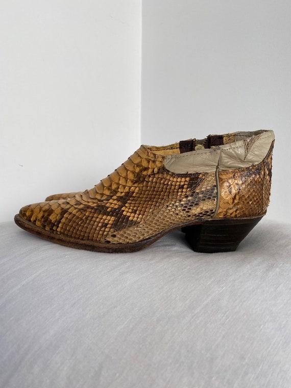 Gorgeous Vintage Genuine Python Ankle Cowboy Boot… - image 6
