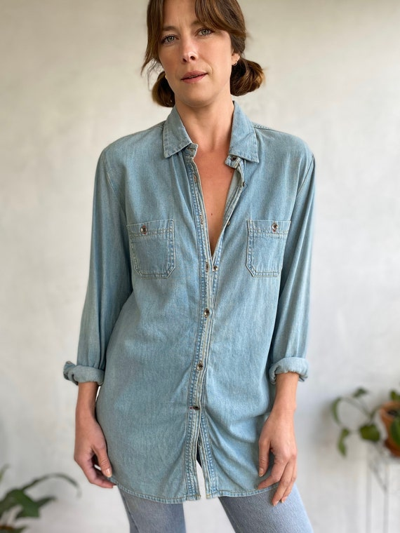 Vintage Light Blue Hand-Painted Flower Chambray De