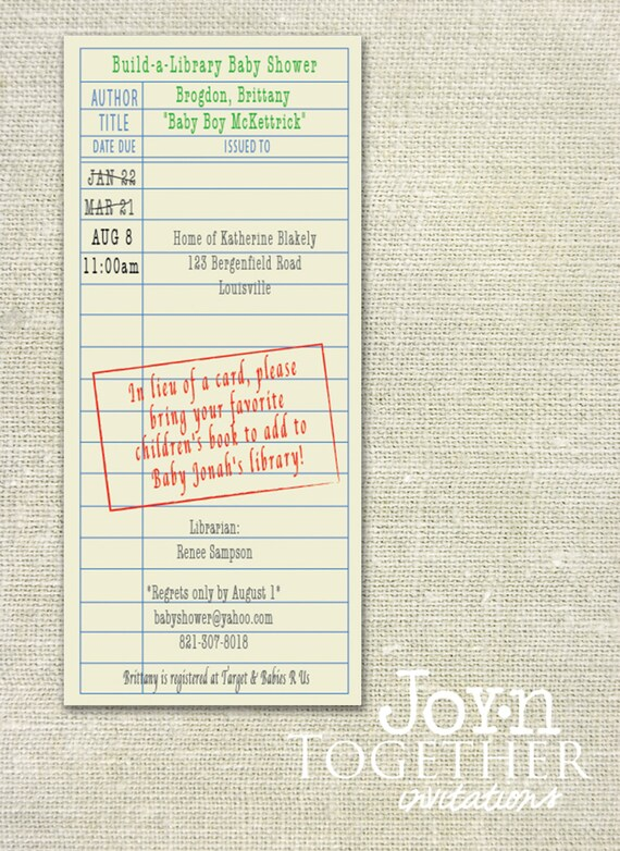 Build a library library card baby shower invitation etsy image 0 filmwisefo