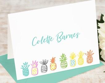 Personalized Note Card Set / Folded Stationery / Stationary Notecard Set / Cute Fruit Script Stationary // PLAYFUL PINEAPPLES FOLDED