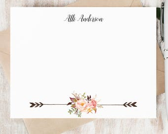 Personalized Notecard Set / Set of Flat Personalized Stationery / Custom Stationary Set / Flowers // PAINTED FLORALS II