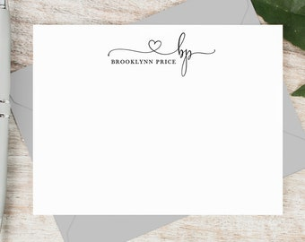 personalized note card set personalized stationary cards monogram stationary cute pretty script notecards precious monogram - Note Cards
