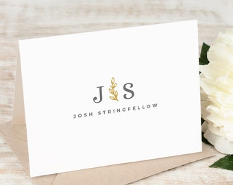 Personalized Note Card Set / Folded Stationery Note Cards / Custom Printed Classic Stationary Set // SPRIG MONOGRAM