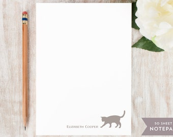 Personalized Notepad - CAT - Stationery / Stationary Notepad - Cute cat personalised note pad custom printed name