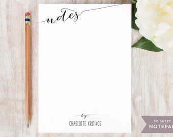 Personalized Notepad - SLANTED NOTES  - Stationery / Stationary Notepad - cute script personal modern notes to do list for women girls work