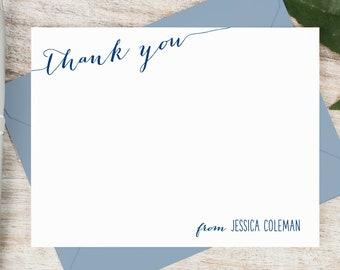 Personalized Thank You Card Set / Flat Personalized Stationary / Personalized Notecard Set / Personalized Stationery // SLANTED THANKS FLAT