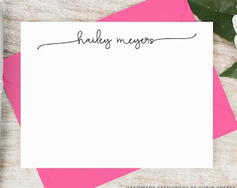 Personalized Notecard Set / Flat Personalized Stationery / Personalized Card Set / Simple Script Cute Chic Notes // SWASH SCRIPT FLAT