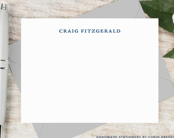 Personalized Notecard Set / Personalized Stationery / Stationary Note Card Set / Simple Elegant Professional Men's Name // SIMPLICITY FLAT