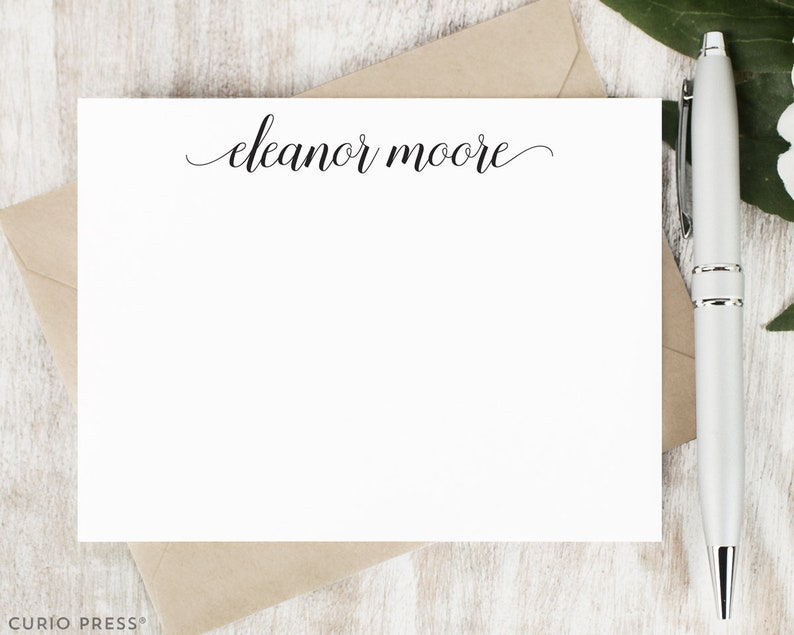 Personalized Note Card Set / Script Personalized Stationary / image 0