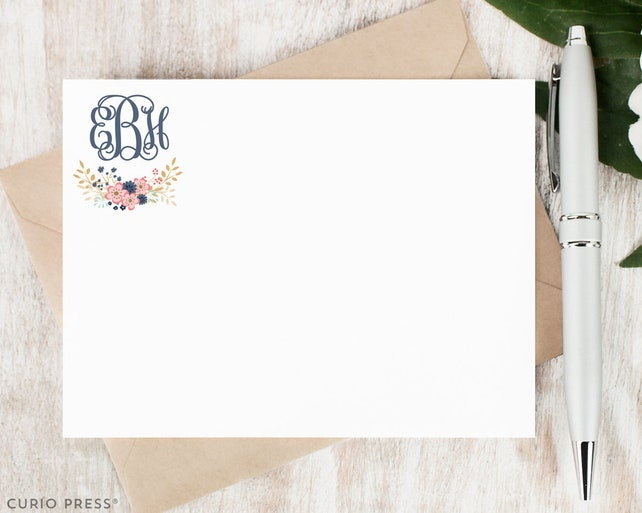 Personalized Note Card Set / Personalized Stationary Cards / Monogram Stationary / Script Calligraphy Simple Notecards // GIRLY MONOGRAM