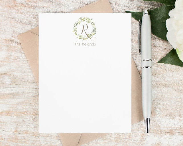 Personalized Notecard Set / Monogram Personalized Stationery / Wedding Custom Stationary Set / Botanical Thank You Family Monogram // WREATH