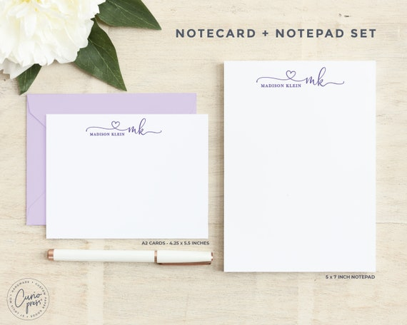 Personalized Stationery Set  Notecard and Notepad Stationary Set  Simple Pretty Script Cards  WATERCOLOR SCRIPT 2-SET  Flat Pad