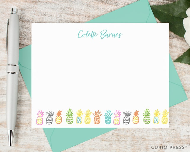 Personalized Note Card Set / Personalized Stationary Cards / Cute Stationary / Playful Fruit Notecards // PLAYFUL PINEAPPLES