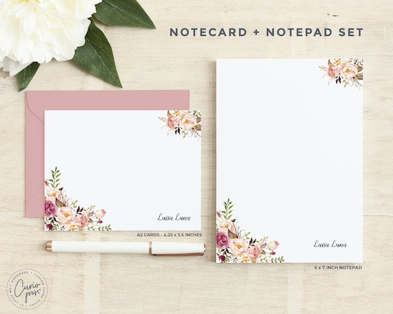 Pad Personalized Stationery Set  Notecard and Notepad Stationary Set  Floral Women/'s Cute Cards  AMELIA FLORALS 2-SET  Flat