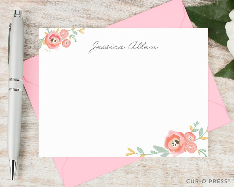 Personalized Stationary Set / Watercolor Personalized image 0