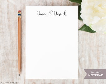 Personalized Notepad - SCRIPT COUPLE - Stationery / Stationary Notepad - script couples engagement wedding housewarming his and hers to do