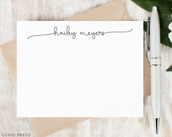 Personalized Notecard Set / Flat Personalized Stationery / Personalized Stationary Card Set / Simple Script Cute Chic Notes // SWASH SCRIPT