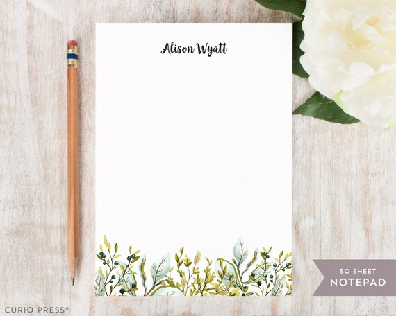 personalized notepad olive leaves stationery stationary etsy
