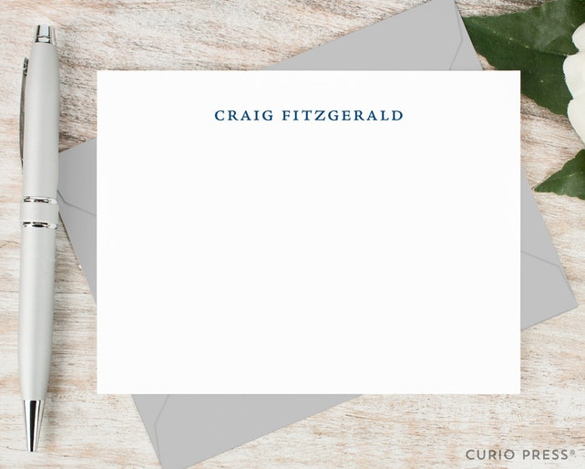 Personalized Notecard Set / Set of Flat Personalized Stationery / Stationary Note Card Set / Simple Elegant Professional Name // SIMPLICITY