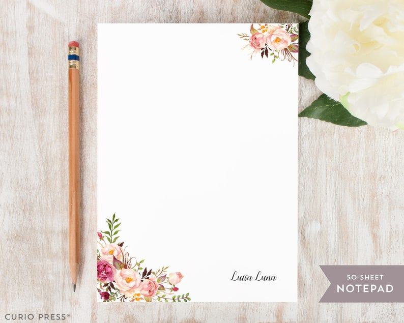 PAINTED FLORALS I rustic floral peonies watercolor notes Stationery  Stationary 5x7 or 8x10 Notepad Personalized Notepad