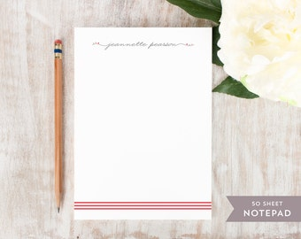 Personalized Notepad - TRIPLE STRIPE  - Stationery / Stationary Notepad - cute script personal modern notes