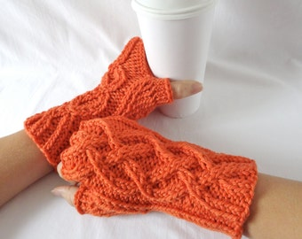 DISCONTINUED Pumpkin Orange Celtic Knit Merino Wool Fingerless Gloves,