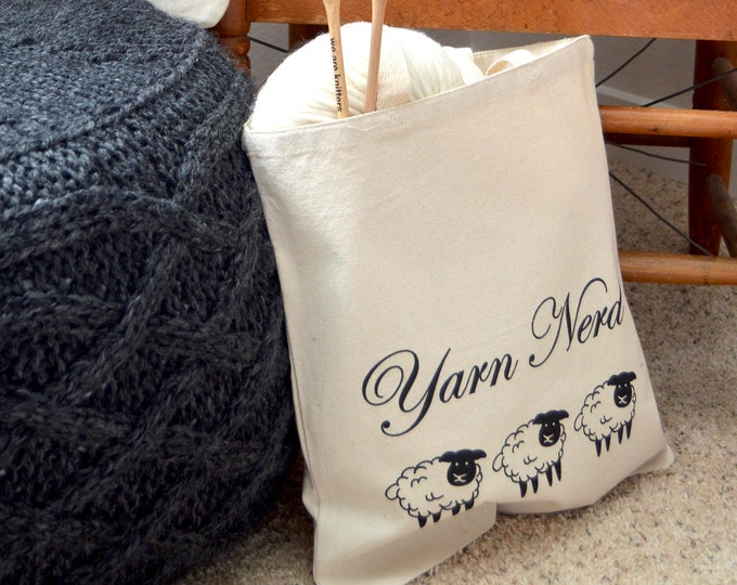 Yarn Nerd Knitting Project Tote Bag