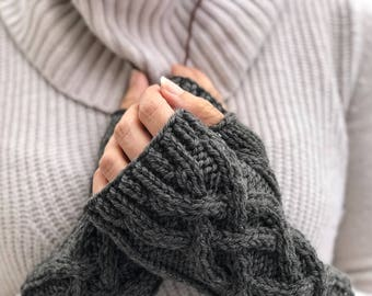 Charcoal Gray Cable Knit Fingerless Gloves, Merino Wool Fingerless Mittens, Gray Knitwear Arm Warmers,