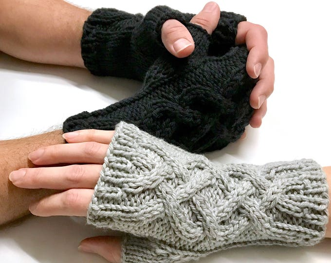 Merino Wool Celtic Cable Knit Fingerless Gloves Warmers,  Handmade Knit Hand Warmers Women Ready To Ship Discontinued