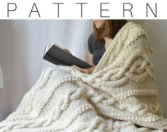 Chunky Knit Cable Throw Blanket, Knitting Pattern, PDF Download, Knitted Afghan, Cable Knit Bulky Blanket, Bulky Knit, Florence Knit Blanket