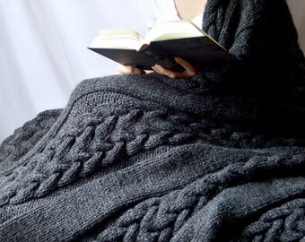 Cable Braid Hand Knit Wool Blanket, Cable Knit Acrylic Afghan, Housewarming Gift