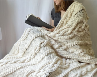 Florence Blanket, Knit Throw Blanket Pattern