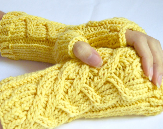 Intertwined Hearts Yellow Knit Merino Wrist Warmers, Limited Editon