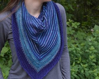 Elizabeth Scarf Pattern, Triangle Knit Scarf PDF Pattern