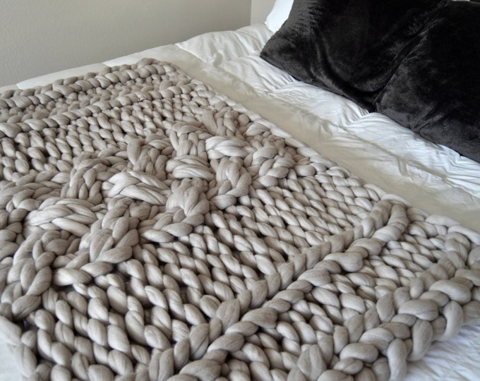"Chunky Gray Merino Wool Throw Blanket,  ""Why Knot"",  Discontinued"