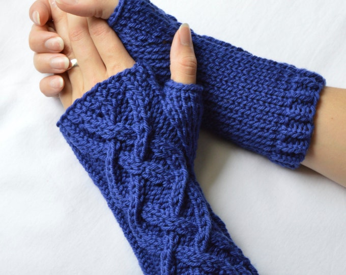 Blue Velvet Merino Wool Knit Celtic Cable Fingerless Gloves