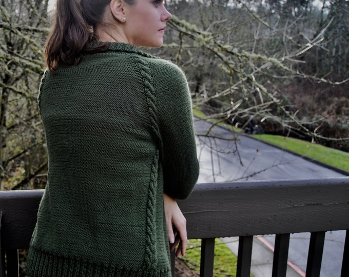 Raglan Cable Cardi Knitting Pattern