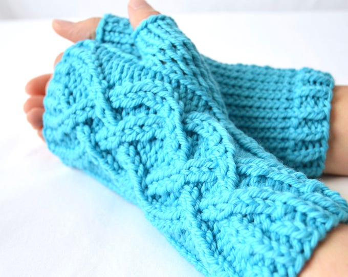 Teal Blue Celtic Cable Merino Wool Fingerless Gloves Limited Edition