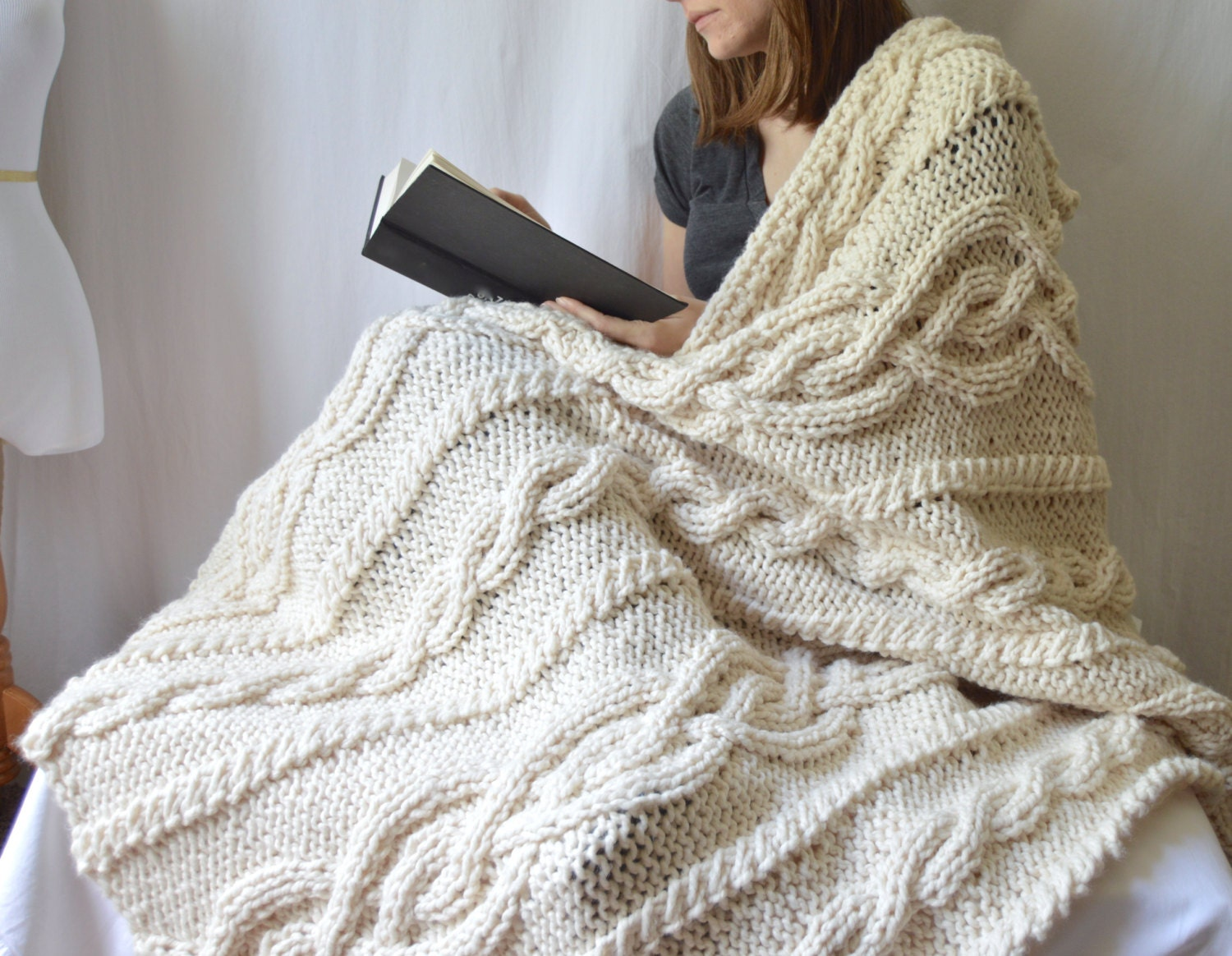 Chunky Wool Blend Knitted Blanket, Throw Blanket, Cable Knit Afghan ...