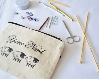 Knitting Notion Bag, Travel Knitting Bag, Zippered Makeup Bag, Yarn Nerd