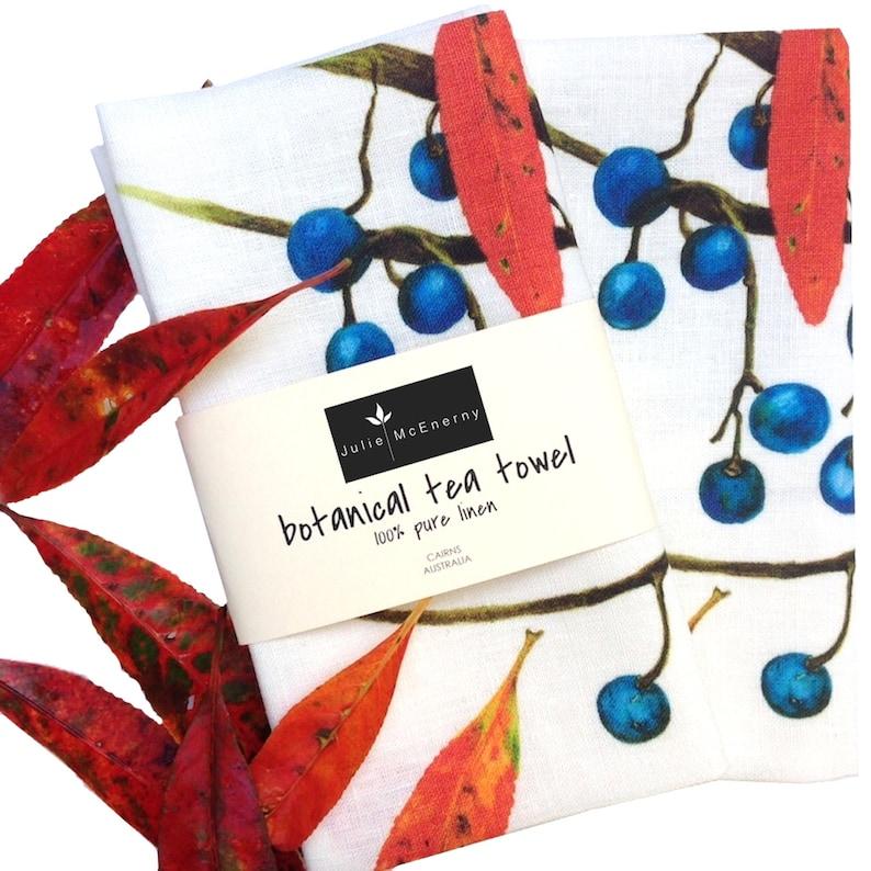 Quandong Pure Linen Botanical Tea Towel featuring original image 0
