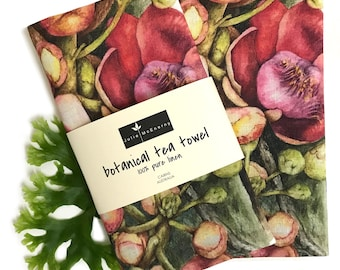 Cannonball Flower Linen Tea Towel,  botanical art by Australian artist Julie McEnerny