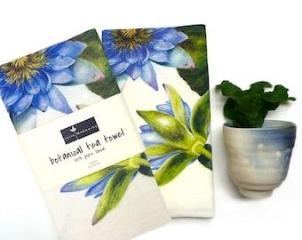 Blue water lily botanical tea towel, Julie McEnerny