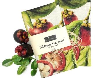 Mangosteen Linen tea towel featuring botanical art by Australian artist Julie McEnerny, printed in Australia