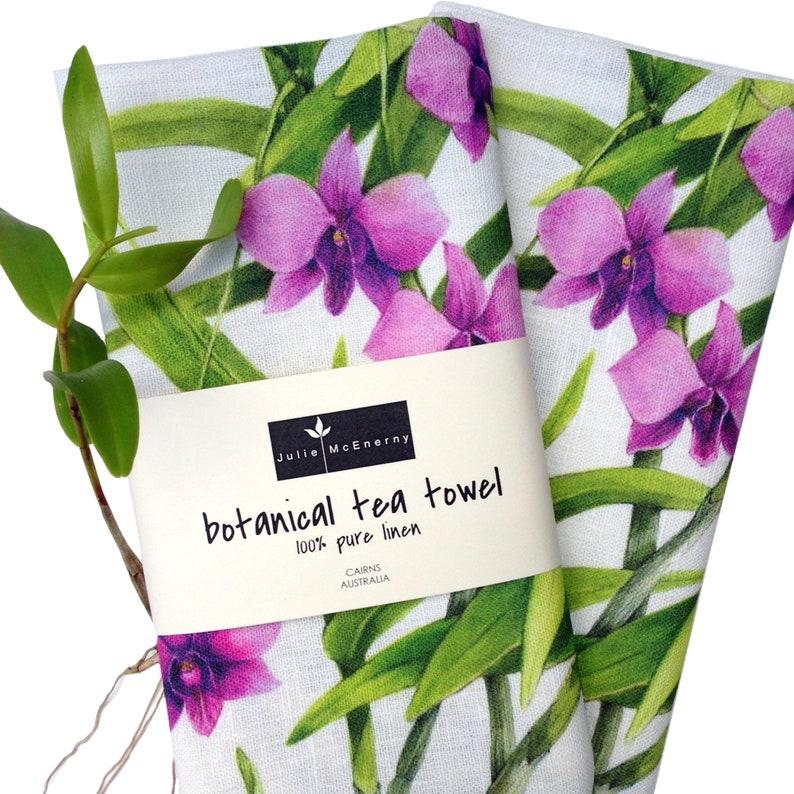 Cooktown Orchid Tea Towel pure linen original botanical art image 0