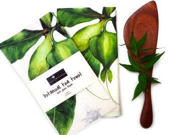 100% Linen Tea Towel, featuring original Barringtonia asiatica botanical art by Australian artist, Julie McEnerny